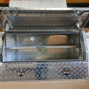 Alloy Toolbox 1450 x 530 x 820 mm Checker Plate with 2 External Drawers
